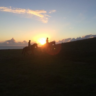 Sunset trail ride on the Pacific Coast